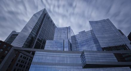Steel blue glass skyscrapers