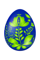 Blue Easter egg with elements of traditional Russian painting. D