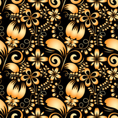 Seamless texture with gold flowers on a black background. Gzhel.