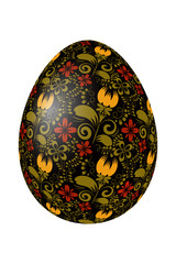 Black Easter egg with bright elements of traditional Russian pai