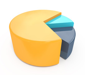 colorful 3d pie chart graph. High resolution render
