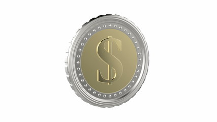 Dollar coin spin on white background