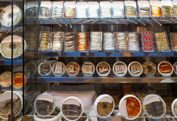 Shop-window with different dietic sea foods products