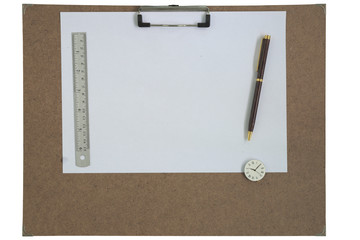 Art board, clock, pen, and ruler isolated white background