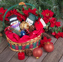 Christmas Basket of Ornaments