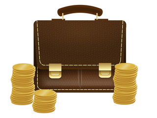 briefcase with coins