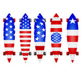 Illustration of american flag longboards