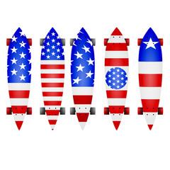 Illustration of american flag longboards
