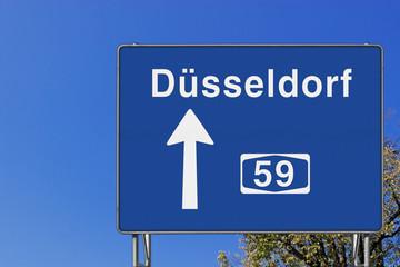 Wegweiser auf A 59, Richtung Düsseldorf