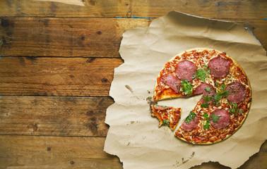 sliced italian pizza salami, free copy space