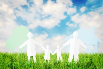 Concept of happy family having fun outdoors in the summer field