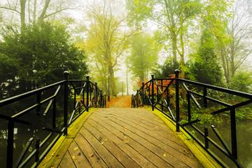 Autumn -  bridge in autumn misty park