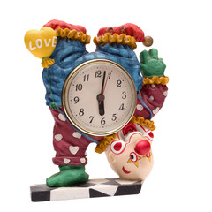 Clown alarm clock isolated on white background