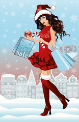 Santa girl with shopping bags in city, vector illustration