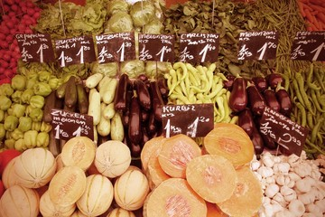 Food market in Vienna - cross processed color tone