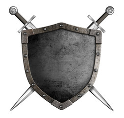 medieval knight shield and swords as coat of arms isolated