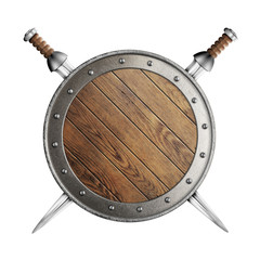 old wooden vikings' shield and two swords isolated