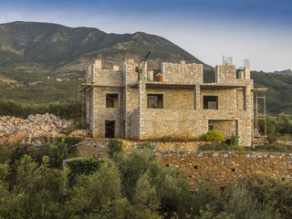 Stone single family house construction in Greece