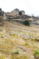 Buildings of medieval town chufut kale, Crimea