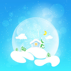 The little house with the moon and fir tree,vector illustration