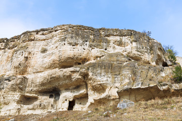 Caves of medieval town chufut-kale, Crimea