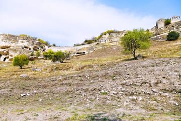 ancient town chufut-kale on mountain, Crimea