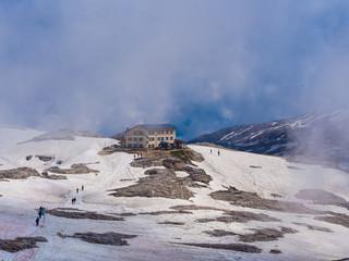 Rosetta mountain hut in the snow, Dolomites