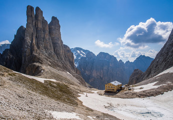 Re Alberto mountain hut and Towers of Vajolet, Dolomites
