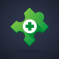 Puzzle piece icon with a pharmacy sign