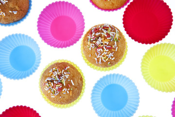 Cupcakes isolated white background
