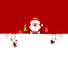 Santa & Symbols Red Background
