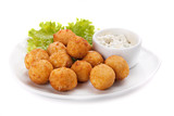 Deep fried cheese balls whith  lettuce and sauce