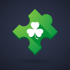 Puzzle piece icon with a clover