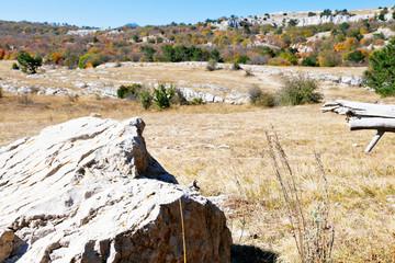 rocks on mountain plateau Ai-Petri in Crimea