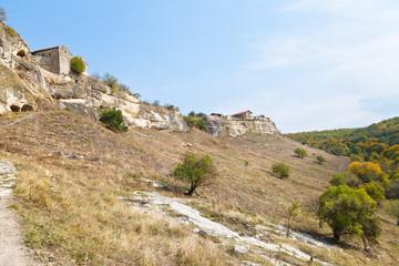 Walls of ancient town chufut-kale, Crimea