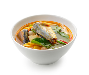 Spicy Sardines  fish ,tom yum thai food style on white backgroun
