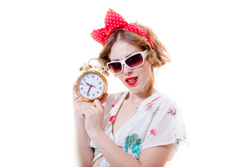 Funny pinup woman and alarm clock