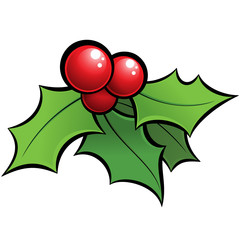Cartoon vector shiny holli mistletoe christmas ornament with bla