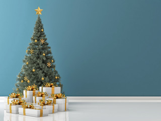 Christmas Tree with Golden Gifts on Blue wall