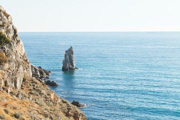 view of Parus (Sail) rock in Black Sea, Crimea