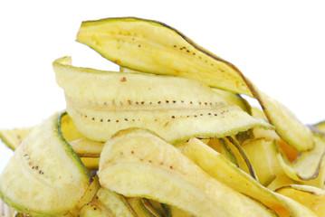 Banana crisp , fried thinly sliced banana chips, a tropical snac