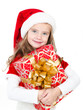 Smiling cute little girl with christmas gift box
