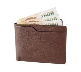 Wallet with Thai money isolated on white