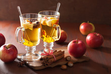 glass of mulled apple cider with  orange and spices, winter drin