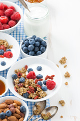 breakfast with granola, yogurt and berries on white wooden table