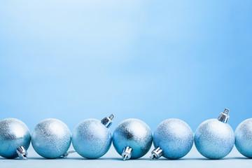 blue christmas balls decoration background