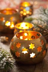 burning christmas lanterns and decoration
