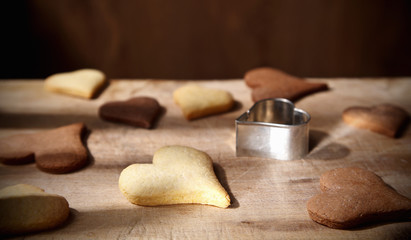 Close-up of vanilla and cocoa flavoured biscuits
