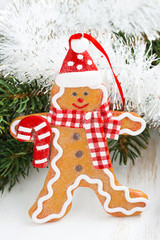 Christmas gingerbread man, close-up