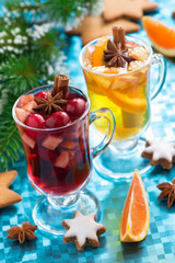 Christmas mulled wine and spiced apple cider